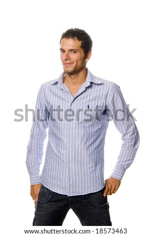 casual man portrait smiling - isolated over a white background - stock photo