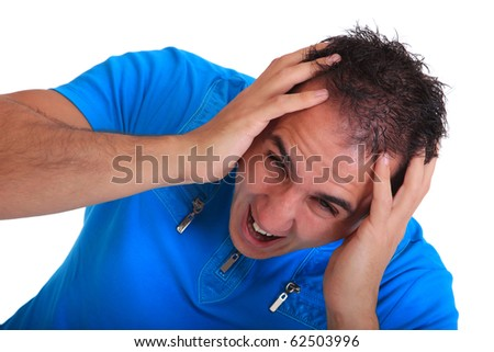 casual man worried  Isolated over white background - stock photo