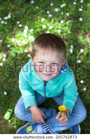 Casual portrait of a cute little boy sitting on the grass - stock photo