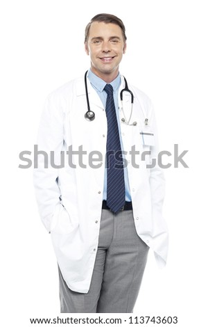 Casual portrait of handsome male surgeon with stethoscope around his neck - stock photo