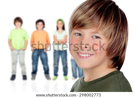 Casual preteen boy and unfocused casual children of background - stock photo