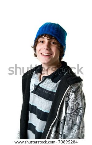 casual teen boy isolated on white - stock photo