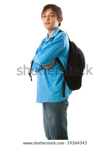 casual teenager preparing for school standing on white background - stock photo