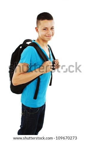 Casual teenager preparing to school standing on white background - stock photo