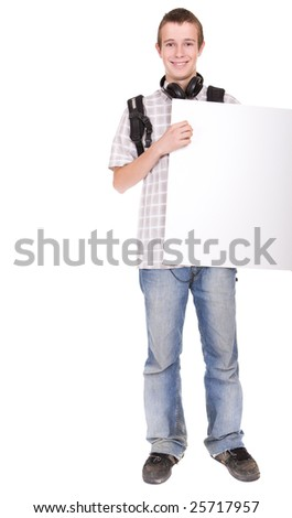 casual teenager preparing to school with board - stock photo