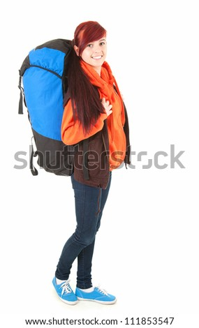 casual tourist girl with backpack, full length, white background - stock photo