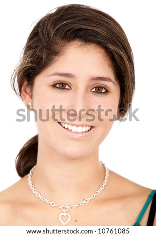 casual woman smiling isolated over a white background - stock photo