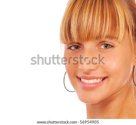 Casual woman smiling, it is isolated on white background. - stock photo