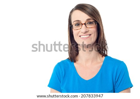Casual woman wearing blue outfit on white background - stock photo