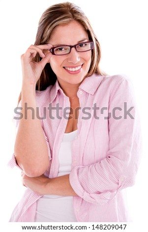 Casual woman wearing glasses - isolated over a white background  - stock photo