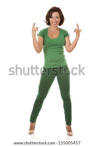 casual woman wearing green outfit on white background - stock photo