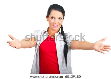Casual woman with arms open to you invite you to come to her  isolated on white background - stock photo