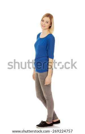 Casual young caucasian woman smiling. - stock photo