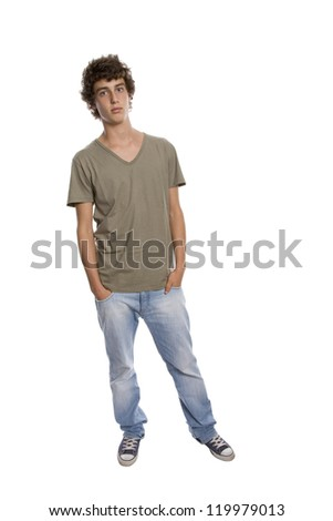 casual young man full body, isolated on white - stock photo