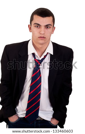 casual young man on white - stock photo