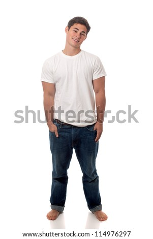 Casual young man. Studio shot over white. - stock photo