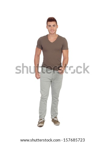 Casual young man walking isolated on a white background - stock photo