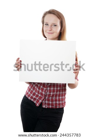 casual young woman holding blank sign - stock photo