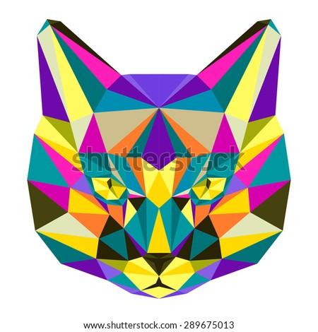 Cat. Abstract cat. Motley cat. Polygonal cat. Geometric cat. Triangle cat. Abstract cat portrait. Cat. Graphic cat. Cat gaze. Cat close up. Isolated cat. Cat. Cat icon. Cat portrait. Cat. Raster copy - stock photo