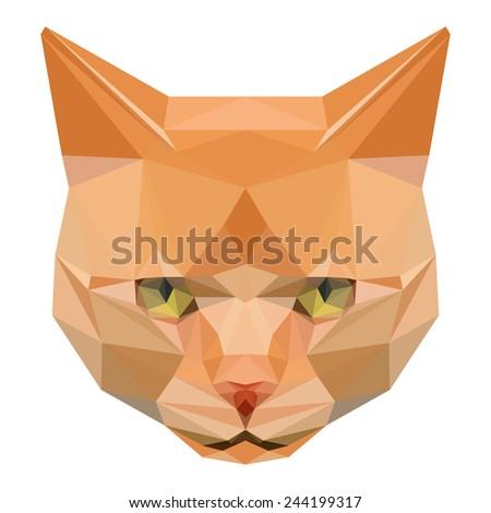 Cat. Abstract cat. Polygonal cat. Geometric cat. Triangle cat. Abstract cat portrait. Cat. Graphic cat. Cat gaze. Cat close up. Isolated cat. Cat. Cat icon. Cat portrait. Cat. Cat card. Raster copy. - stock photo