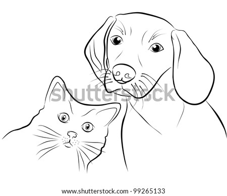 cat and dog - freehand on white background, illustration - stock photo