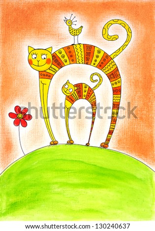 Cat and kitten, child's drawing, watercolor painting on canvas paper - stock photo