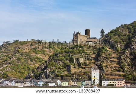 Cat castle. The Rhine valley is one of the most beautiful parts of Germany. - stock photo