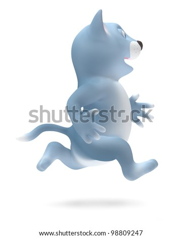 Cat is running isolated on white background - stock photo