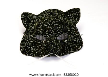Cat maskon on white background - stock photo