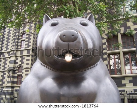 Cat of Fernando Botero. Medellin. Colombia - stock photo