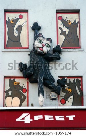 Cat on a Wall Sign - stock photo