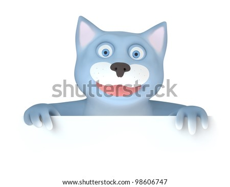Cat paw holds panel - stock photo