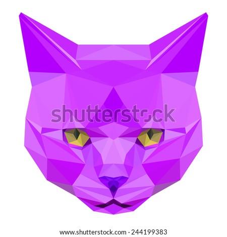 Cat. Purple cat. Abstract cat. Cat icon. Cat. Polygonal cat. Cat. Geometric cat. Cat portrait. Cat. Graphic cat. Cat gaze. Cat icon. Isolated cat. Cat. Cat icon. Cat icon. Cat icon. Cat. Raster copy. - stock photo