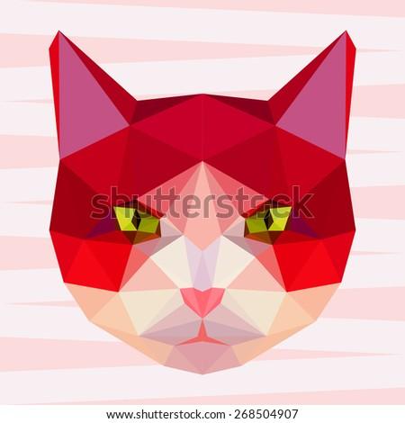 Cat. Red cat. Abstract cat. Cat icon. Cat. Polygonal cat. Cat. Geometric cat. Cat portrait. Abstract cat. Cat. Graphic cat. Cat gaze. Cat icon. Isolated cat. Cat. Cat icon. Cat icon. Cat. Raster copy - stock photo