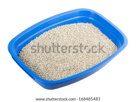cat tray filler isolated on white background - stock photo