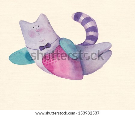 Cat with pink heart - stock photo