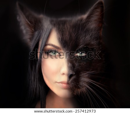 cat woman. Werewolf symbiosis of man and cat. The hidden nature of women walking alone. a symbol of independence. Passion and sexuality, danger and desire. - stock photo