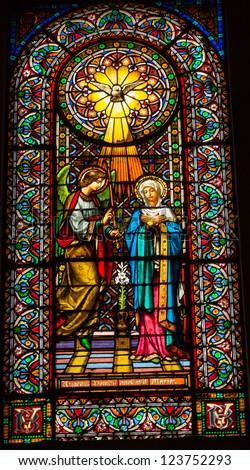 CATALONIA, SPAIN--OCTOBER 18, 2012 Stained glass Magi three kings baby Jesus Mary in Monestir Monastery of Montserrat, Barcelona, Catalonia, Spain on October 18, 2012.  Placa de Santa Maria. - stock photo