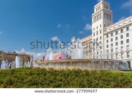 Catalonia Square in Barcelona. Spain - stock photo