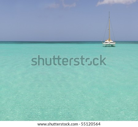 catamaran in saona beach - caribbean sea - stock photo