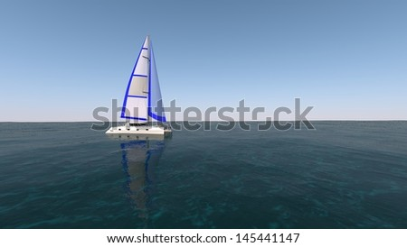catamaran in the sea - stock photo