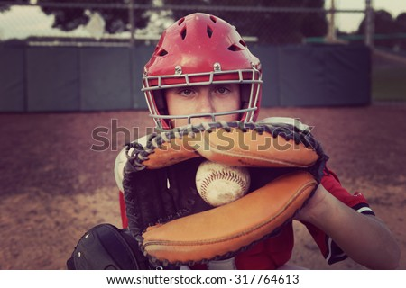 Catcher behind the plate. - stock photo