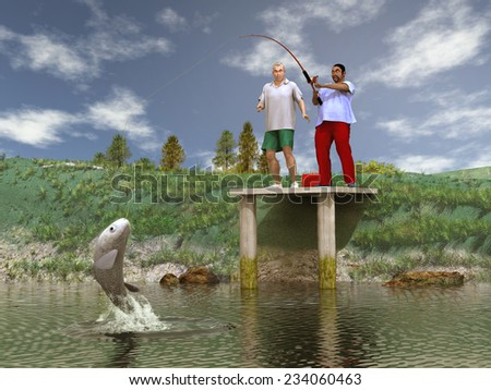 Catching a big fish - stock photo