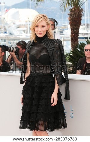 Cate Blanchett attends the 'Carol' Photocall during the 68th annual Cannes Film Festival on May 17, 2015 in Cannes, France. - stock photo