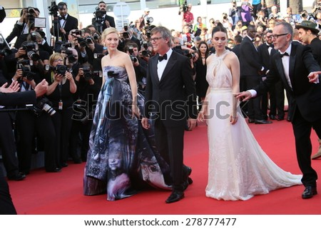 Cate Blanchett,  Rooney Mara, Todd Haynes attend the 'Carol' Premiere during the 68th annual Cannes Film Festival on May 17, 2015 in Cannes, France. - stock photo