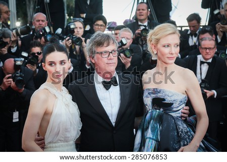 Cate Blanchett, Rooney Mara, Todd Haynes  attends the 'Carol' Premiere during the 68th annual Cannes Film Festival on May 17, 2015 in Cannes, France. - stock photo
