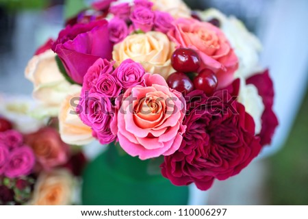 Catering (Bouquet of Beautiful Roses with Sweet Cherries) - stock photo