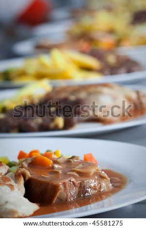Catering food at restaurant kitchen - stock photo