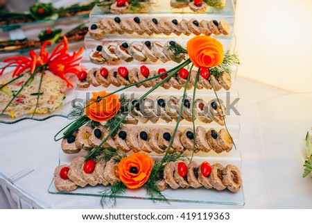 catering food wedding  - stock photo