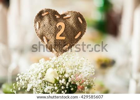 Catering in restaurant. Wedding banquet. Wedding party. Restaurant event. Banquet, wedding, catering, celebration. Wedding restaurant. Served tables. - stock photo